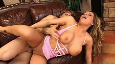 The blonde's hot body quivers with every thrust of cock inside her peach