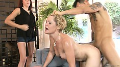 Wife stands there angry and watches them fucking with his cock up mom's ass
