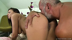 Tiana takes her horny, hairy old man for a hot ride in her young twat