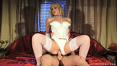 Masked submissive freak provides his mistress with a cock to ride on