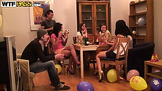 Birthday girl fails to blow out candles but has more success in cock gobbling