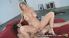 Julia Ann discovers that by sitting on a cock she becomes wet