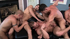 Serious group sex with these gay boys putting their cocks in any hole