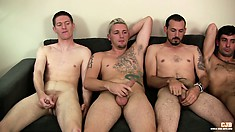 A gay group of cock jerking sitting side by side on the couch