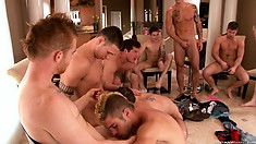 All the boys gather for a hot celebration of love for sock and group blowjobs