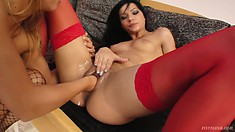 Naughty lesbian bitches get hardcore with some deep fisting action