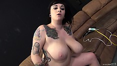 Scarlet Lavey is proud of her huge boobs, and loves riding cock