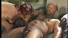 Sexy redhead gets her tight ass pounded deep by a black schlong
