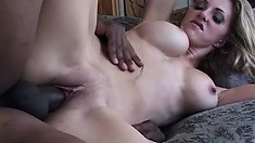Blonde Roxanne humps him on top and gets both holes nailed, sucks again