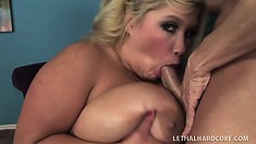Horny blonde lady with huge natural hooters Kacey has sexual desires to satisfy