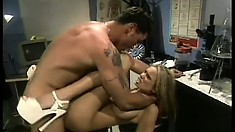The busty babe has him fucking her peach in different positions and she loves it