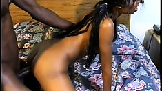 The slender caramel babe rides his big black dick before he bangs her twat from behind