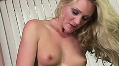 The sultry blonde reveals her awesome blowjob skills before riding his hard cock
