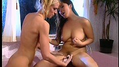 Enticing lesbian lovers Fujiko and Tawny take a shower and please each other's cunts