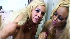 Busty blonde bimbos tag team a big dick with their skilled tongue
