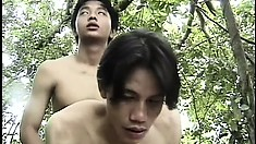 Two skinny Asian boys suck each other's dicks and engage in hot anal action