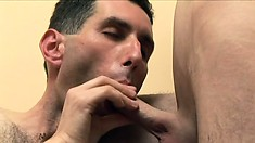 Skinny fuck sucks cock like there's no tomorrow as gets his ass split wide