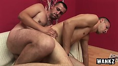 Two gay men spend time eating meat before they bang some ass