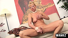 Mature blonde Marylin strips off her lingerie and drills her needy cunt with a dildo