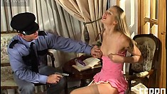 Adorable blonde Florence seduces Igor and he drills her wet pussy deep