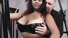Chunky girl with enormous melons gets tied up and her tits worked