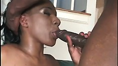 Ebony hottie Jackeline blows and fucks Byron Long's huge black prick