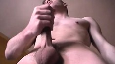Young frat boy amateur needs some cash and gives a solo show