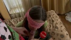 Pigtailed young gal lets him blindfold and tease her then he drills her hard