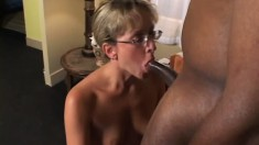Experienced lady Lizzy Law is never too old to take a black dicking