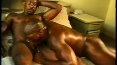 An athletic ebony couple adore riding each other deep and hard