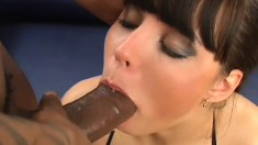 Curvy brunette takes Wesley's cock in her ass and his cum in her mouth