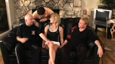 Horny wife finally gets her holes pounded hard and her husband watches