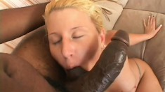 Tattooed blonde hooker climbs upon big hard black beaver-cleaver