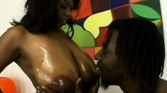 Huge tit, phat ass ebony blows and gets her cunny definitely fucked hard