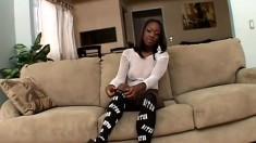 Seductive ebony babe exposes her amazing body before enjoying a huge black cock