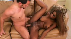 Ethnic African squirter shows a hung white dude a great time