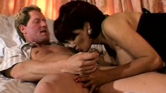 Brunette wife with massive melons gets mounted in a threesome while hubby looks on