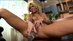 Sexy Adaline introduces her warm wet slit to her massive dildo