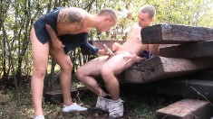 Ricky Boy and Todd suck each other's hard cocks in the outdoors