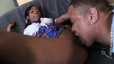 Petite ebony teen with a perky ass finds pure pleasure in a black cock