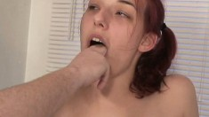 Trashy redhead loves to get drilled hard and to swallow piss and cum