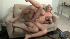 Horny blonde Brooke gets a load of hot cum on her bouncy tits