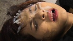 Asian girls giving head and fucking and getting covered in jizz