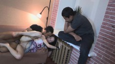 Nasty boyfriend loves to watch his lovely girl banging another dude