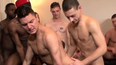 Cody Domino sucks all their dicks and they come all over his face
