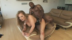 Stacked blonde Aline relinquishes her needy holes to a black stallion