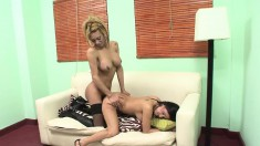 Hot shemale lovers Maria and Celeste indulge in wild sex on the sofa