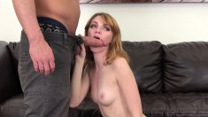 Skinny Marie chews on his pecker, rides it and jacks him off