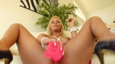 Voluptuous blonde cougar Phoenix pleases her pussy with a pink dildo