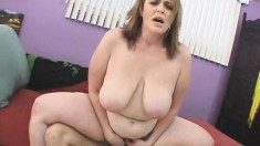 Curvy Vanessa enjoys bouncing on this tiger's throbbing fuck rod